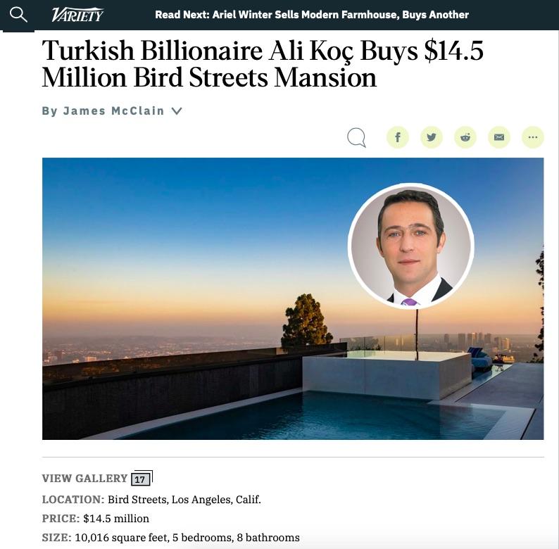 Ali Koç, Los Angeles'ta malikâne aldı.