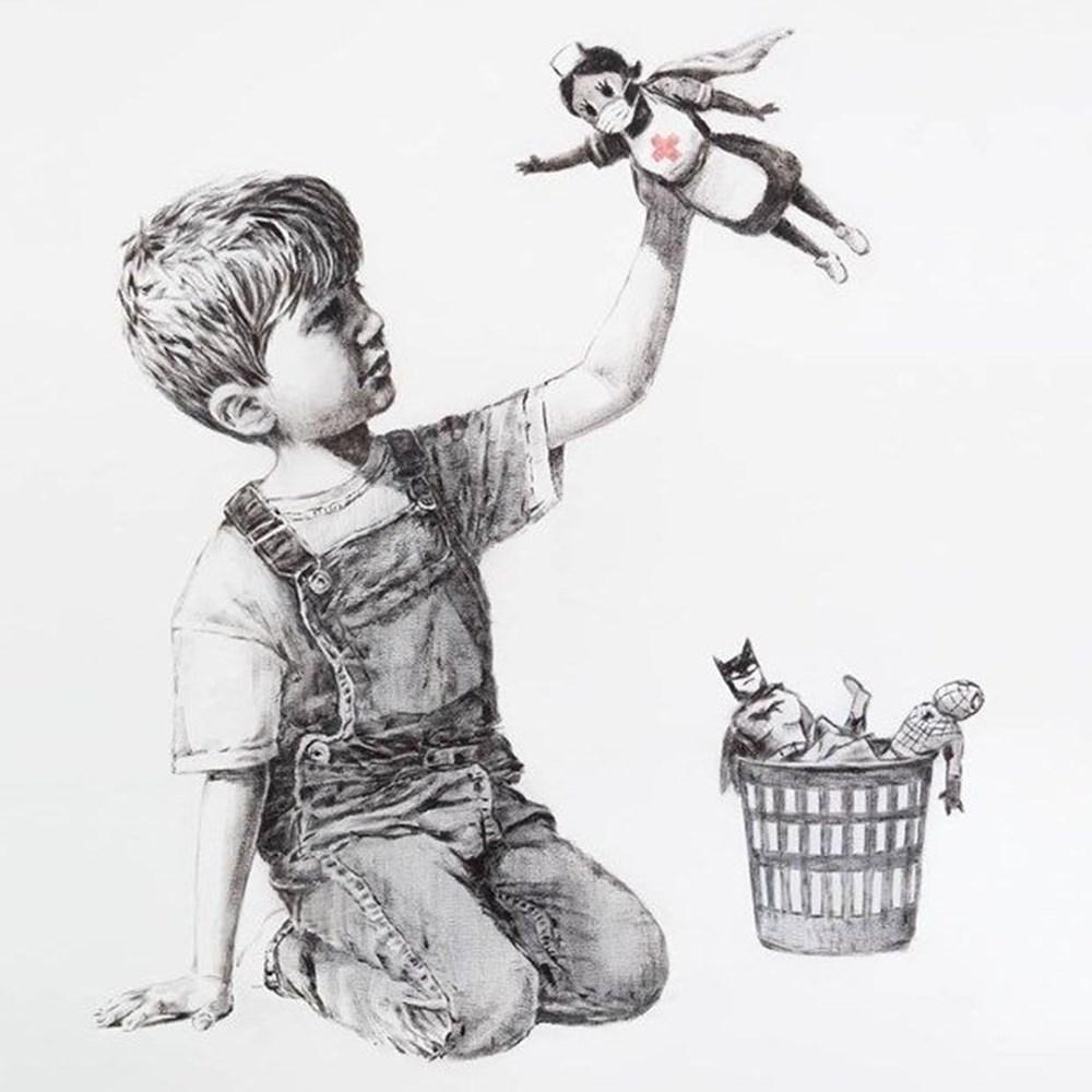 Banksy'nin Game Changer adlı eserinin geliri sağlık çalışanlarına bağışlandı.