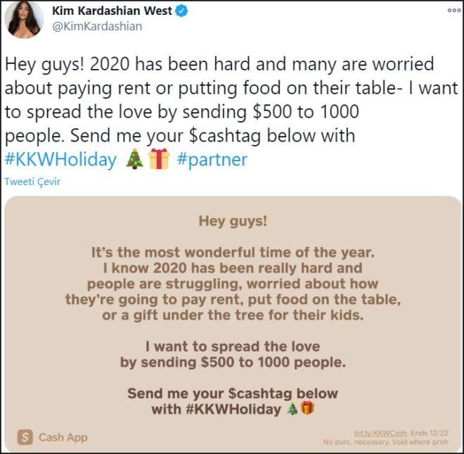 Kim Kardashian'dan bin şanslı kişiye 500'er dolar