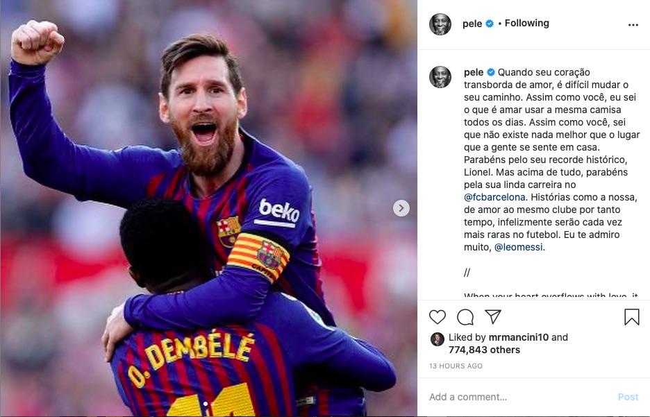 Pele'den Messi'ye Instagram'dan tebrik mesajı