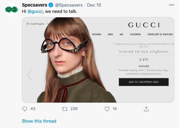 Gucci'nin ters güneş gözlükleri alay konusu oldu