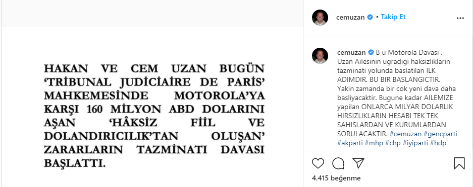 Cem Uzan, Motorola'ya tazminat davası açtı.