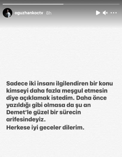 Oğuzhan Koç'tan, Demet Özdemir'e Instagram'da İlan-ı Aşk