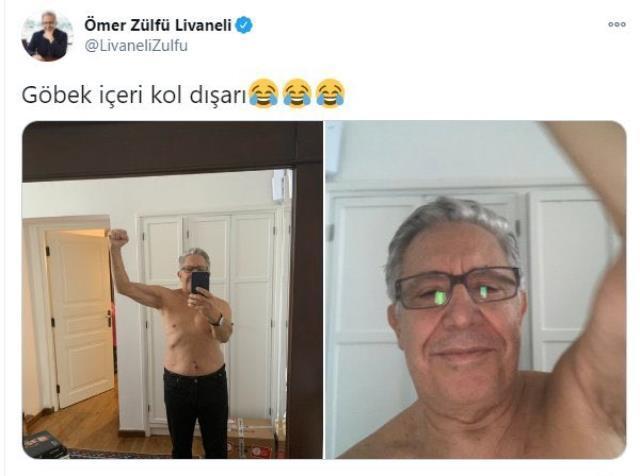 Zülfü Livaneli, Twitter'da ''Göbek içeri'' poz verdi