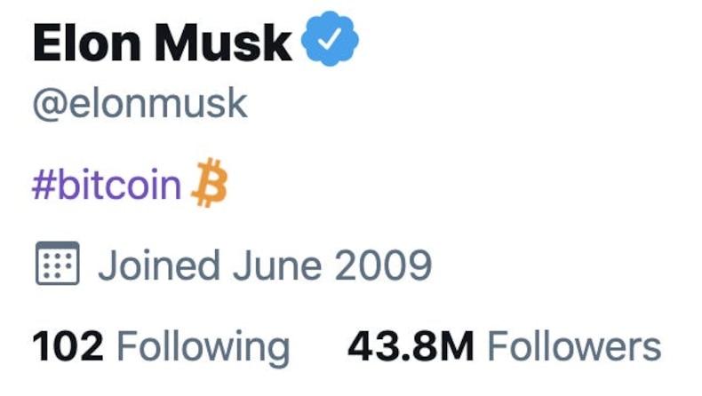 Elon Musk, Twitter biyografisine 'Bitcoin' yazdı. Kripto paralar yükselişe geçti.